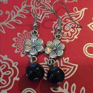 Flower & Black Glass Bead Earrings